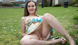 Women flashing outdoors